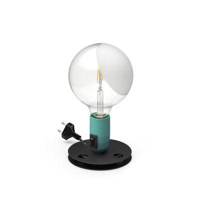Luminaire - Lampes de table - Lampe de table Lampadina / Achille Castiglioni, 1976 - Flos - Turquoise / Base noire - Aluminium laqué, Backélite, Verre