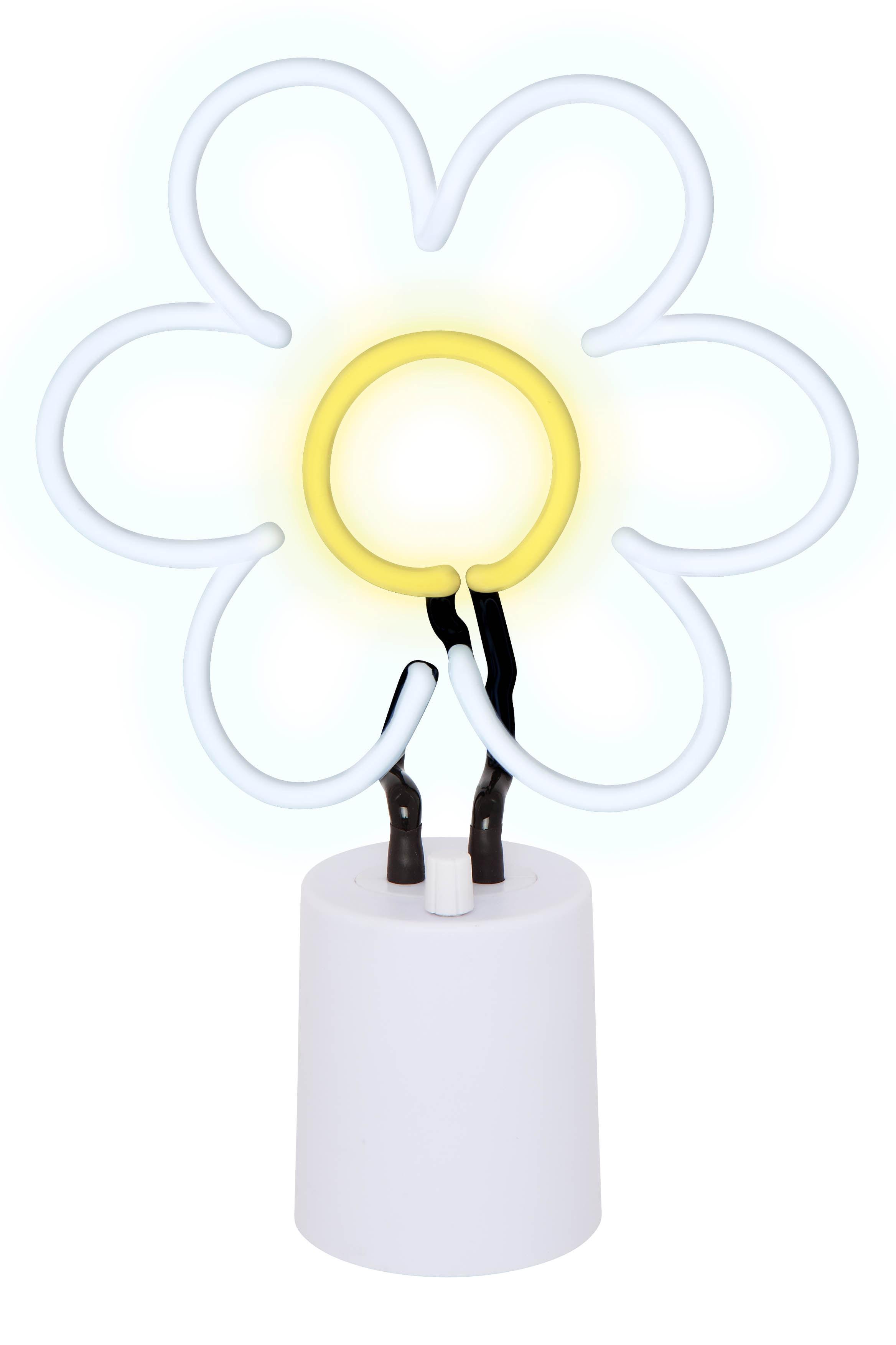 lampe neon marguerite large h 45 cm marguerite jaune blanc sunnylife made in design. Black Bedroom Furniture Sets. Home Design Ideas