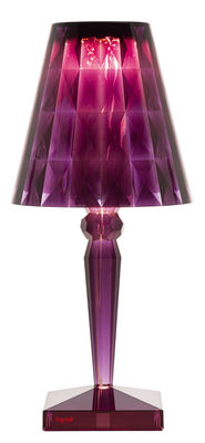 Lampe sans fil Big Battery LED / H 37 cm - Recharge USB - Kartell prune en matière plastique