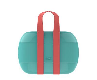 Lunch box Food à porter / 2 compartiments - Alessi bleu clair en matière plastique