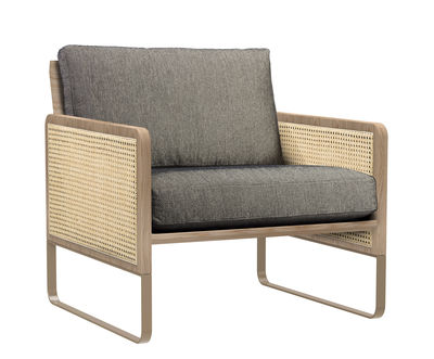 Furniture - Armchairs - Cannage Padded armchair - / Fabric by RED Edition - Caviar beige / Oak & brass -  Plumes, Cotton, High resilience foam, Lacquered steel, Rattan, Solid oak