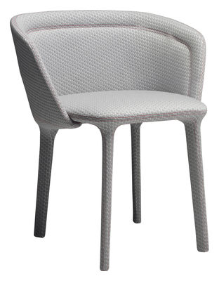 Furniture - Chairs - Lepel Padded armchair - Fabric by Casamania - Grey Innofa fabric / Red seam - Fabric, Metal, Polyurethane foam