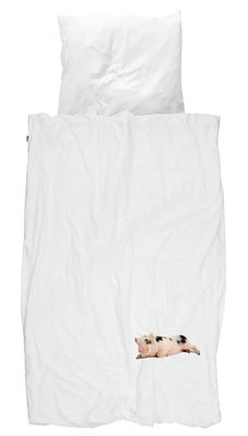 Parure de lit 1 personne Miss Peggy / 140 x 200 cm - Snurk blanc en tissu