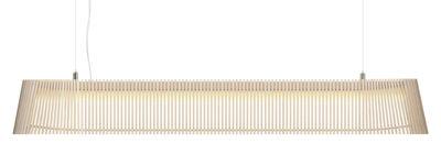 Leuchten - Pendelleuchten - Owalo Pendelleuchte LED / L 100 cm - Secto Design - Birkenholz natur / Kabel transparent - Birkenlatten, Metall