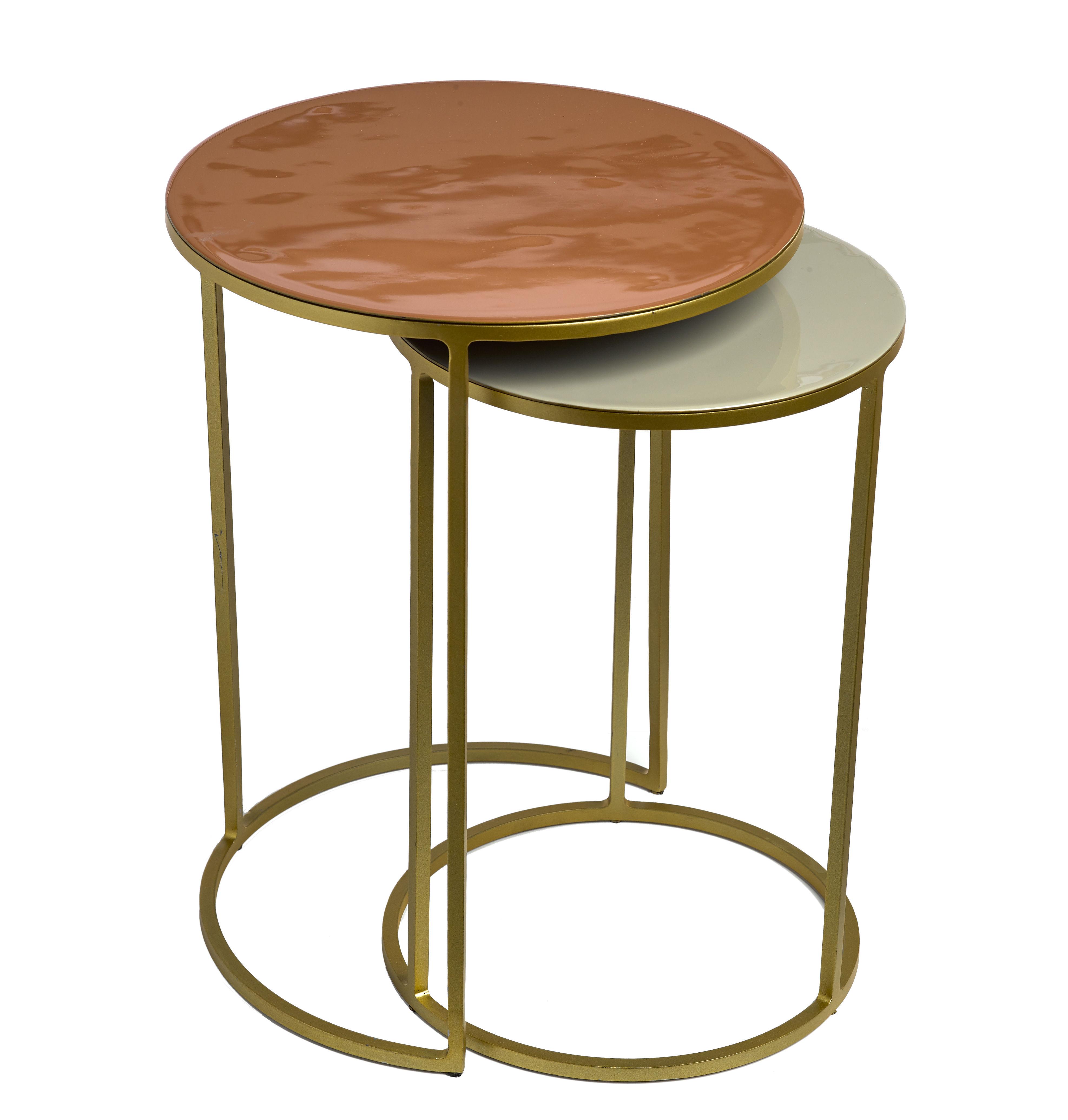 Möbel - Couchtische - Enamel Satz-Tische / 2er-Set - emailliertes Eisen - Pols Potten - Rosa & beige / goldfarben - bemaltes Metall, emailliertes Eisen