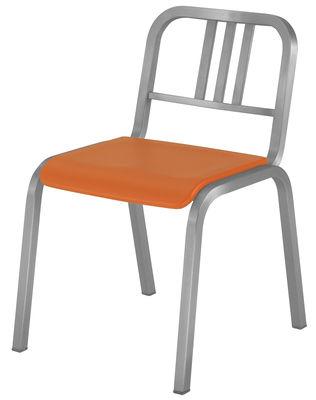 Arredamento - Sedie  - Sedia impilabile Nine-O di Emeco - Alluminio opaco / Arancio - Alluminio riciclato, Poliuretano