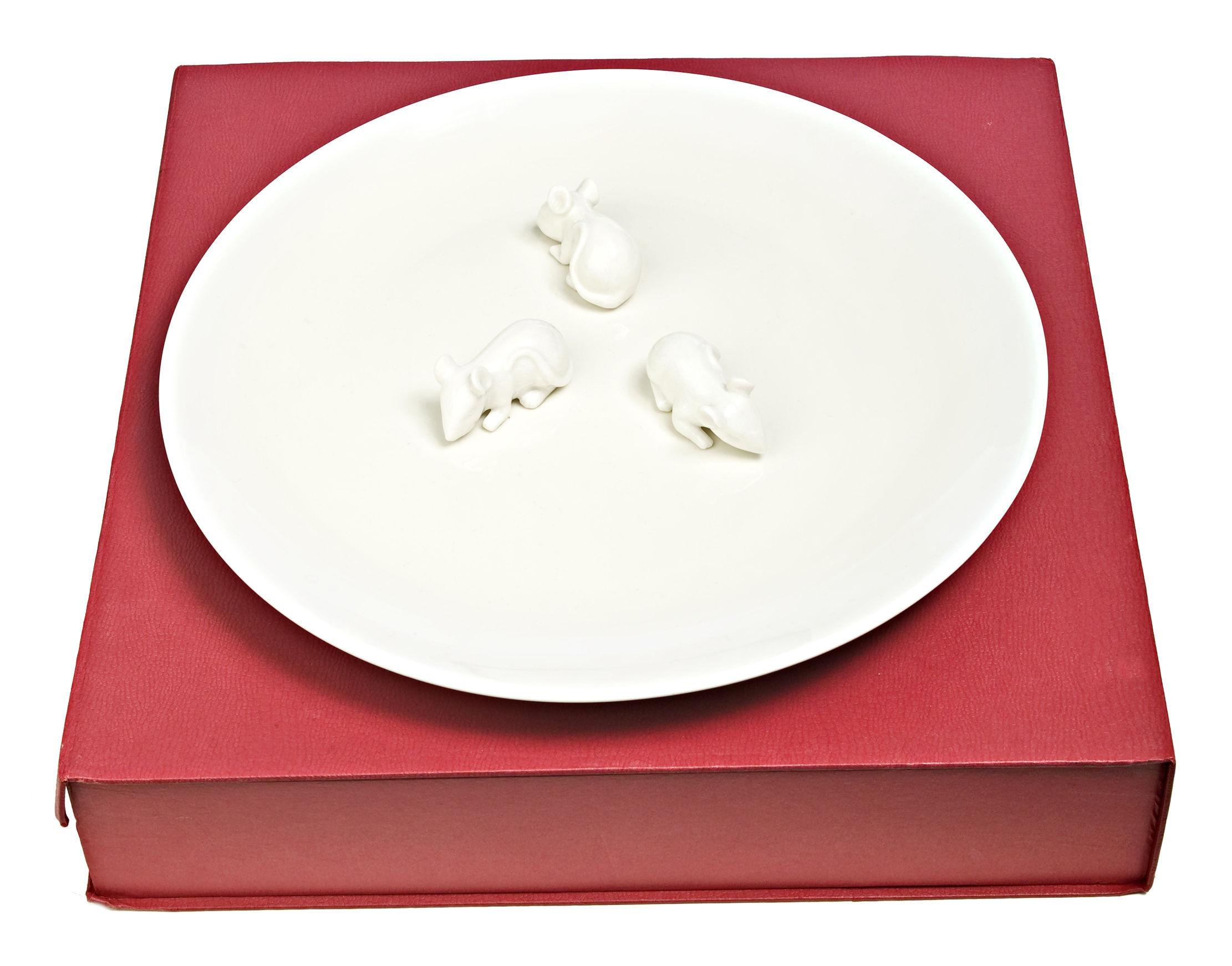 Tischkultur - Teller - Mice Servierplatte mit Mäusemotiv - Ø 40 cm - Pols Potten - Mausmotiv - weiß - Porcelaine vernie