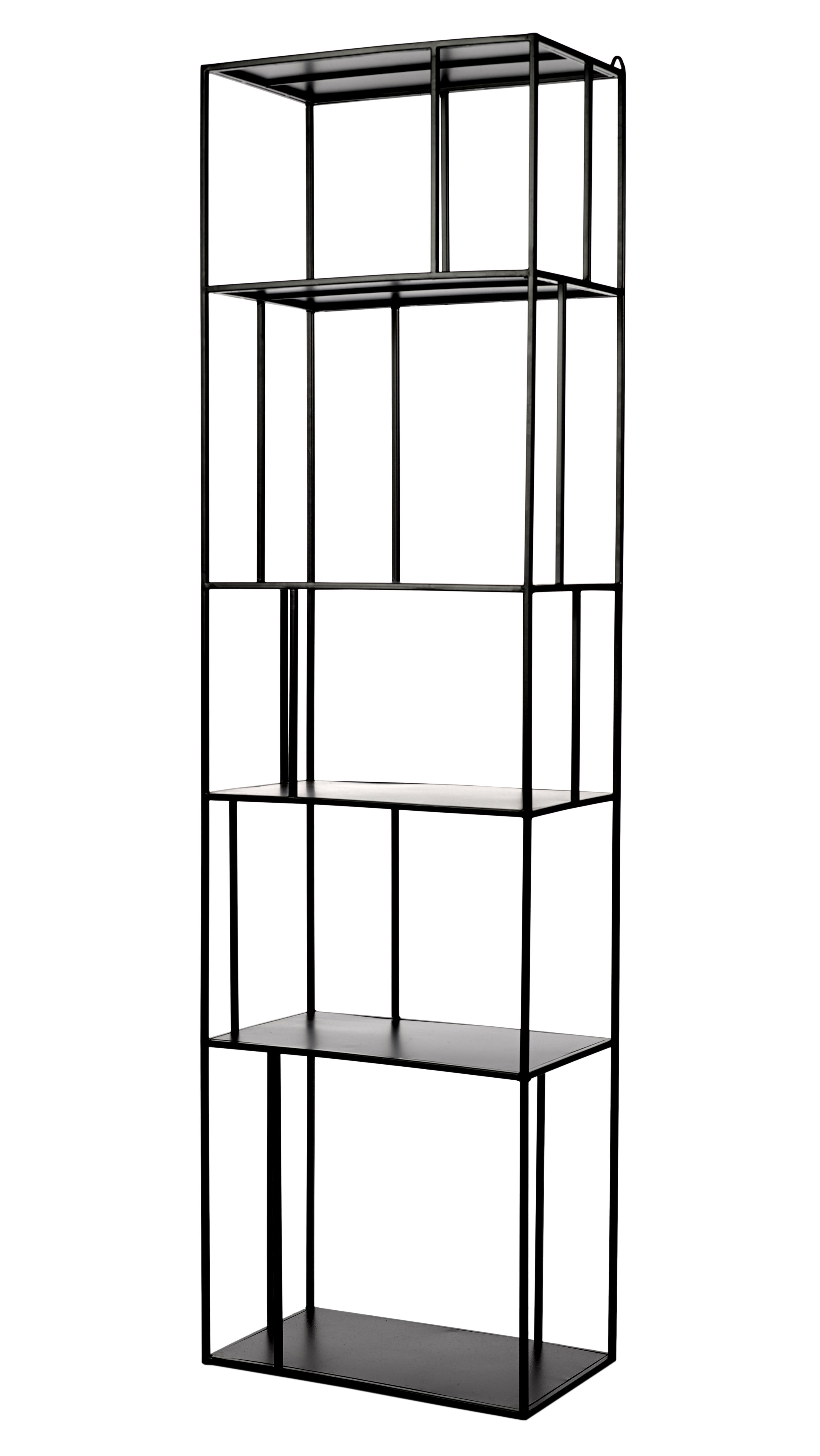 Furniture - Bookcases & Bookshelves - Metal Tall Single Shelf - / L 50 x H 179 cm by Pols Potten - L 50 cm / Black - Metal and epoxy