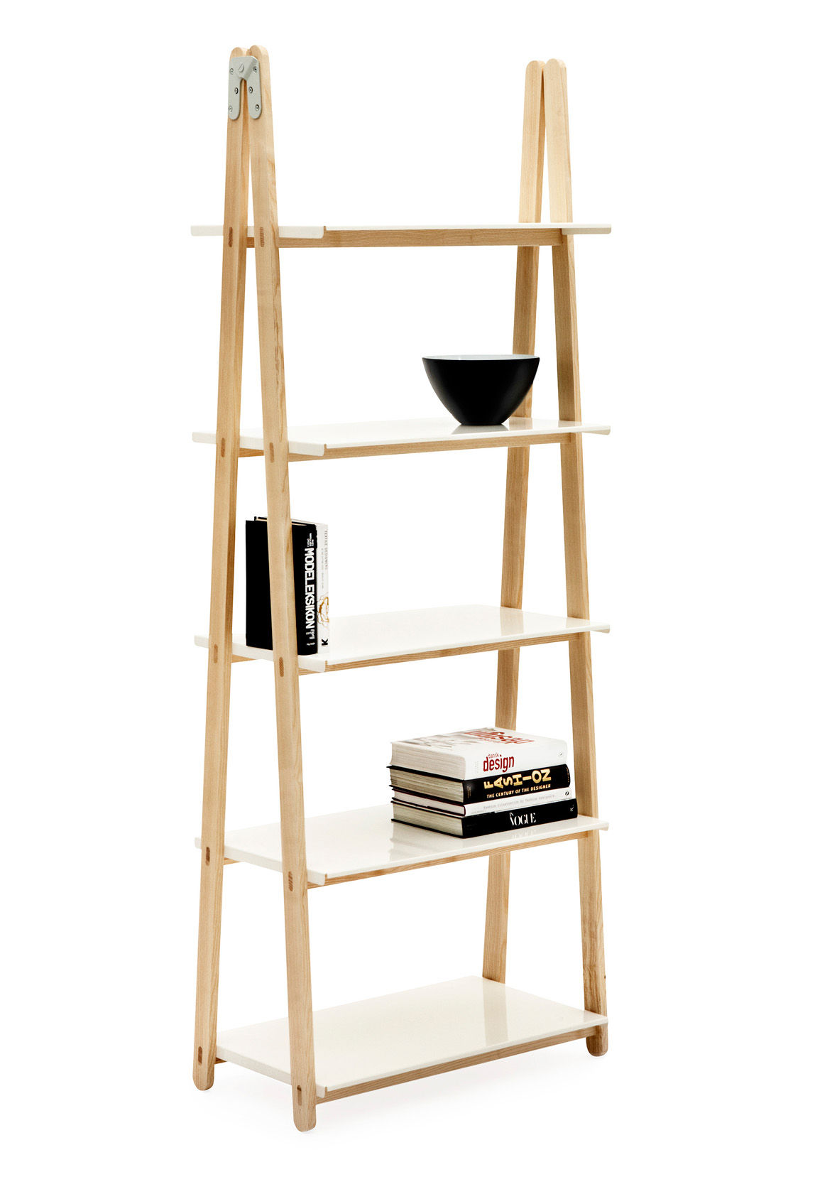 Furniture - Bookcases & Bookshelves - One Step Up Shelf - Bookcase by Normann Copenhagen - Wood / White - Ashwood, Painted aluminium
