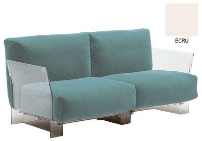 Möbel - Sofas - Pop Sofa 2-Sitzer - Kartell - 2-Sitzer - Stoff Ecru - Baumwolle, Polykarbonat
