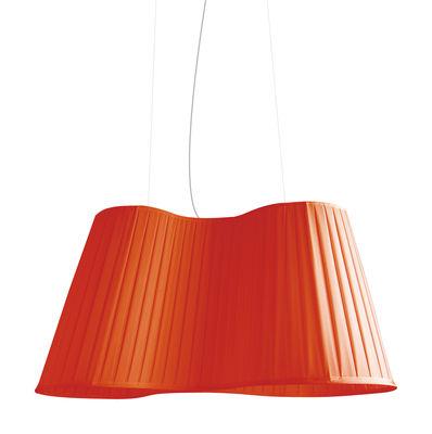 Illuminazione - Lampadari - Sospensione La Suspension - L 75 cm di Dix Heures Dix - Rosso - Filo d'acciaio, Tessuto poliestere