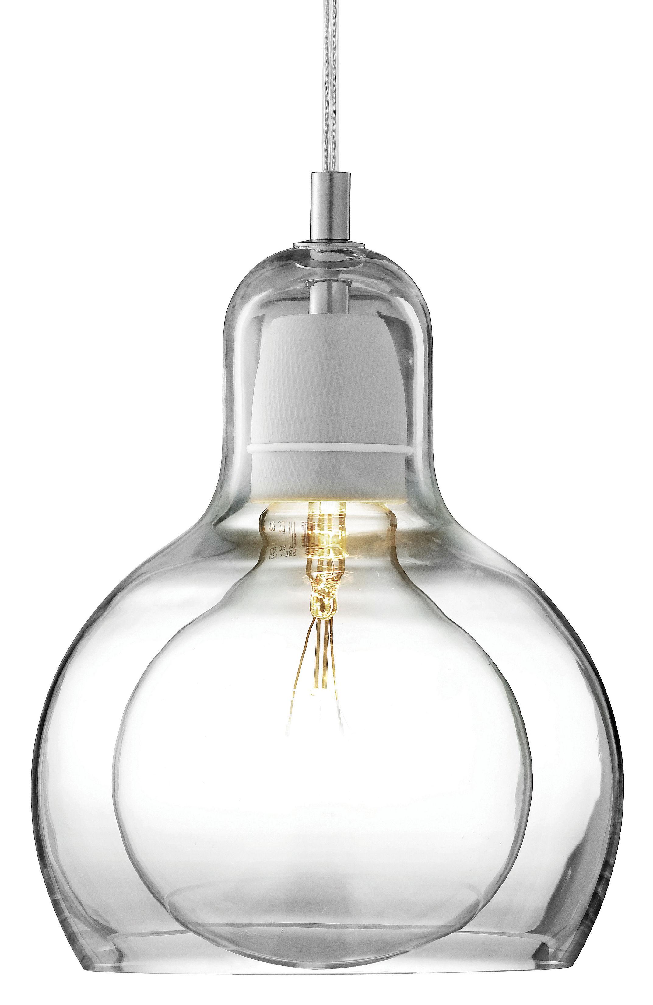 Illuminazione - Lampadari - Sospensione Mega Bulb - Ø 18 cm - Cordone trasparente di &tradition - Trasparente / cavo trasparente - Vetro soffiato a bocca