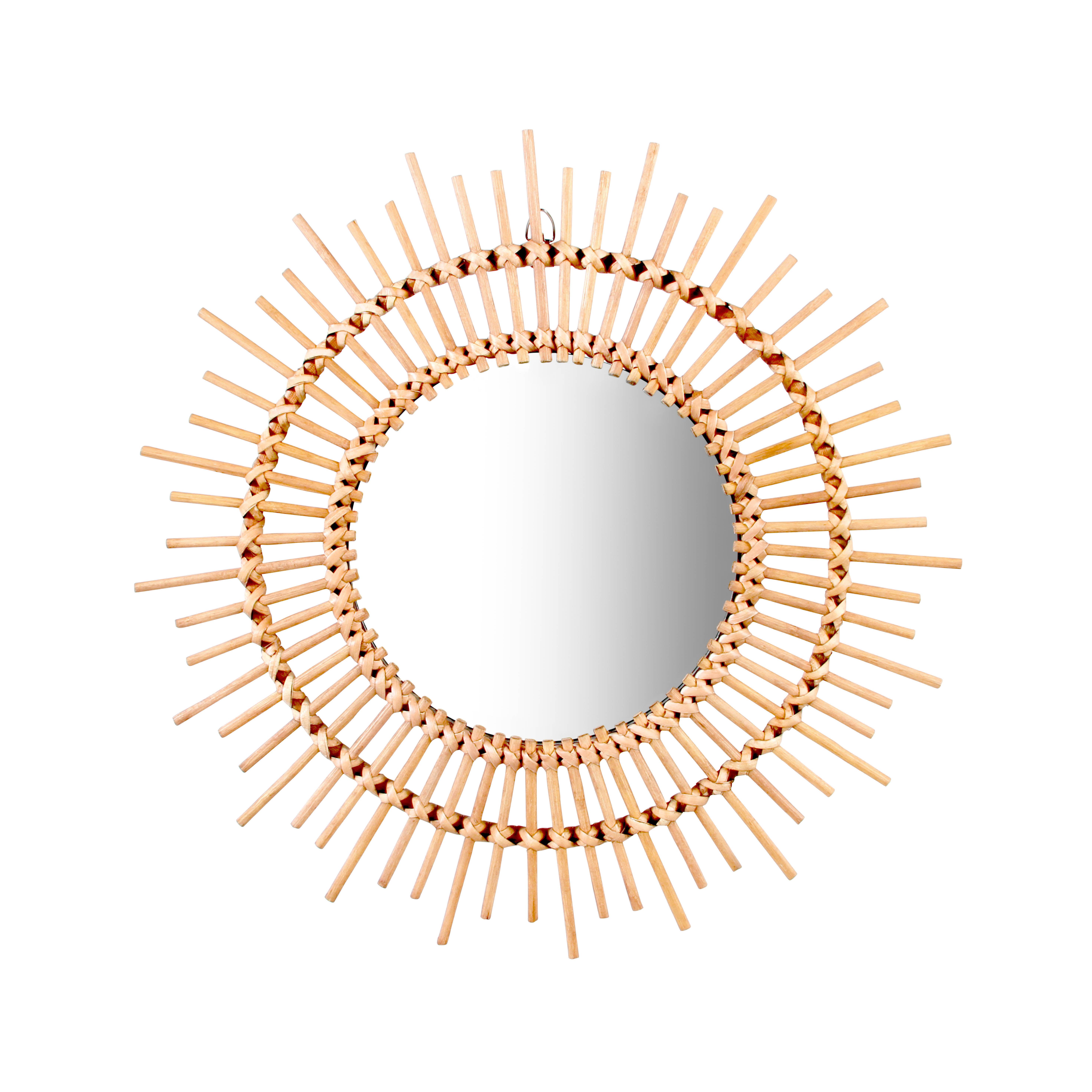Interni - Specchi - Specchio Bamboo Round / Rattan - Ø 43 cm - & klevering - Rotondo / Naturale - Midollino, Vetro