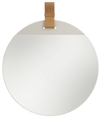 Interni - Specchi - Specchio Enter / Ø 45 cm - Ferm Living - Ø 45 cm / Cuoio naturale - metallo verniciato, Pelle, Vetro
