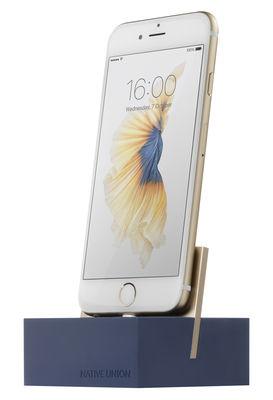 Accessoires - Objets connectés, accessoires high tech - Station d'accueil pour Iphone / Avec câble Lightning 1.2M - Native Union - Bleu / Métal doré - Alliage de zinc, Aluminium, Silicone