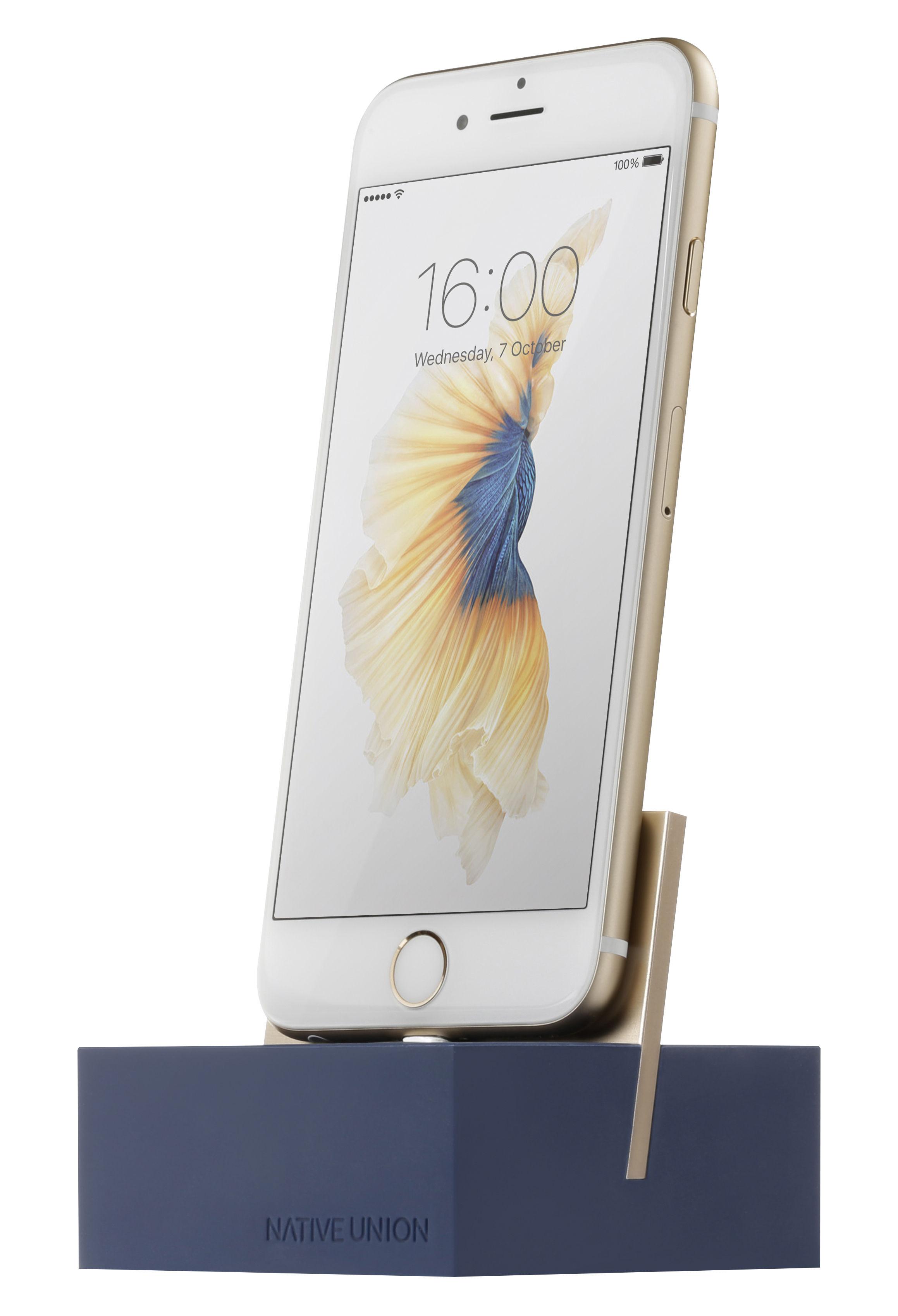 Accessori moda - High-tech  - Stazione d'accoglienza per Iphone / Con cavo Lightning 1.2M - Native Union - Blu / Metallo dorato - Alliage de zinc, Alluminio, Silicone