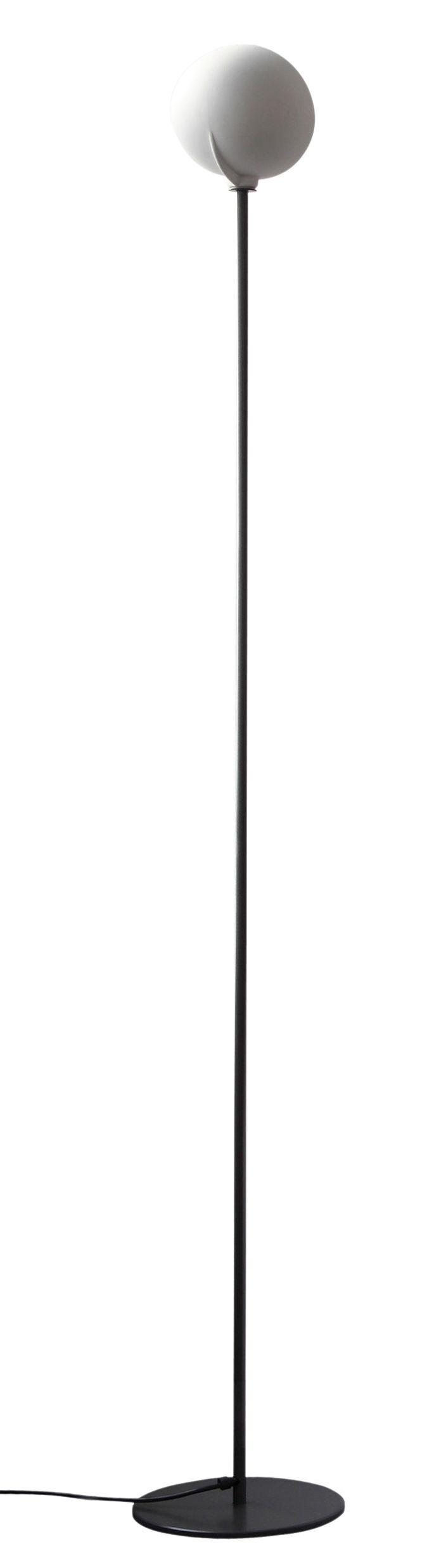 Leuchten - Stehleuchten - Deux chevaux Stehleuchte - Zeus - Weiß / Fuß schwarzgrau - phosphatierter Stahl, Porzellan
