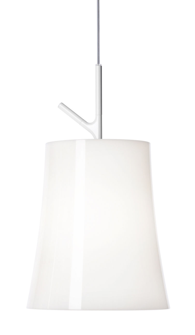Luminaire - Suspensions - Suspension Birdie Grande / Ø 25 cm - Foscarini - Blanc - Acier inoxydable verni, Polycarbonate