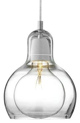 Suspension Mega Bulb / Ø 18 cm - Câble transparent - &tradition transparent en verre