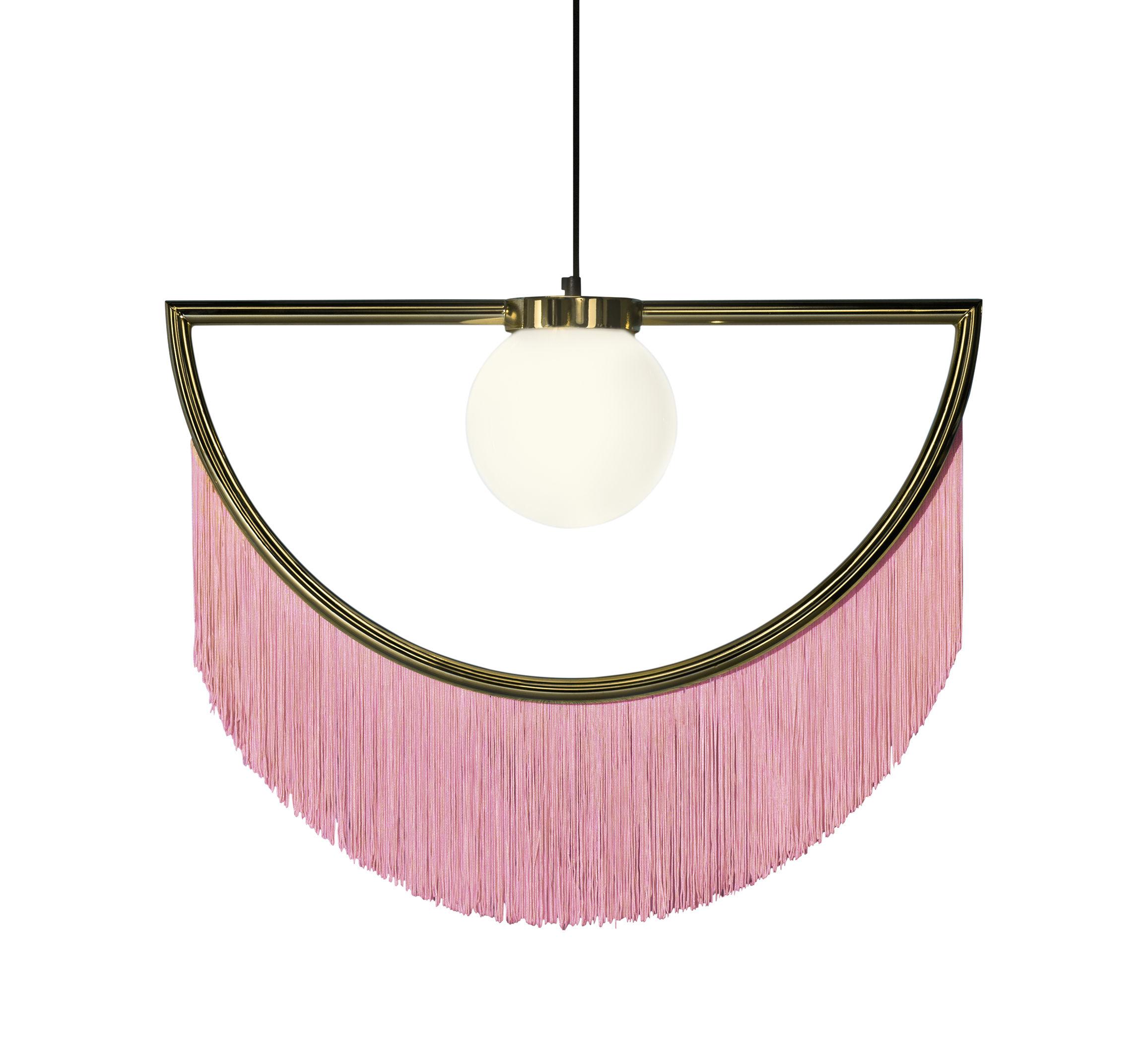 Luminaire - Suspensions - Suspension Wink / Franges - L 60 x H 48 cm - Houtique - Rose / Or - Acier finition or 24 carats, Acrylique, PVC, Verre opalin