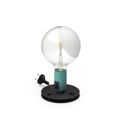 Lighting - Table Lamps - Lampadina Table lamp - / Achille Castiglioni, 1976 by Flos - Turquoise - Bakelite, Glass, Lacquered aluminium