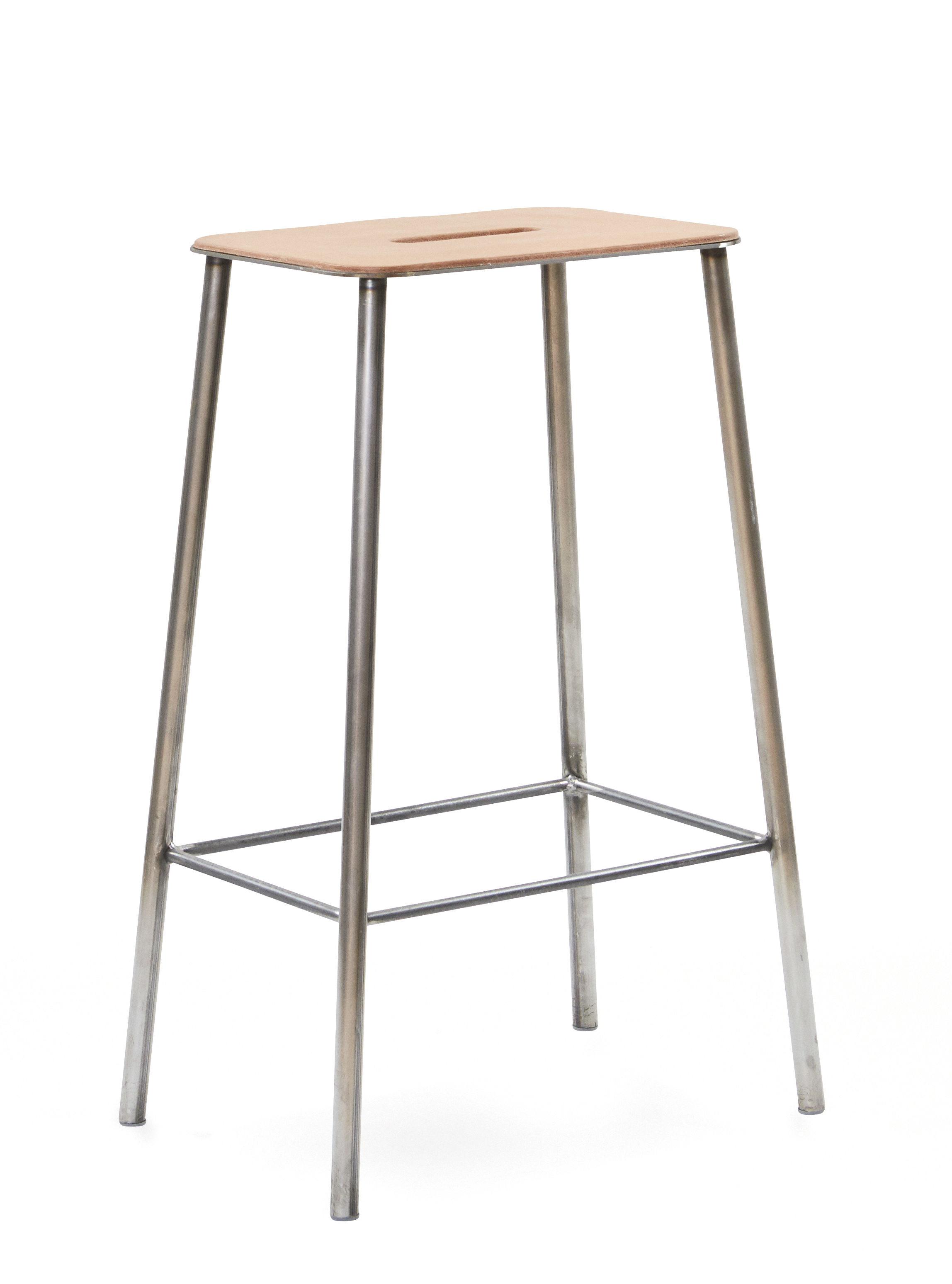 Mobilier - Tabourets de bar - Tabouret  haut Adam Cuir / H 65 cm - Indoor - Frama  - H 65 cm / Cuir beige & acier - Acier, Cuir