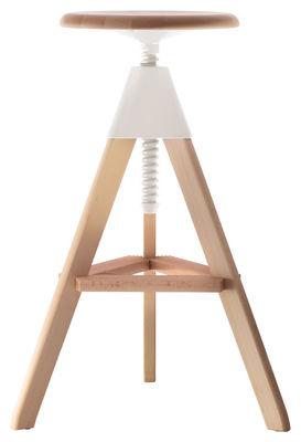 Tabouret haut réglable Tom / Pivotant - Bois & plastique - Magis blanc/bois naturel en bois