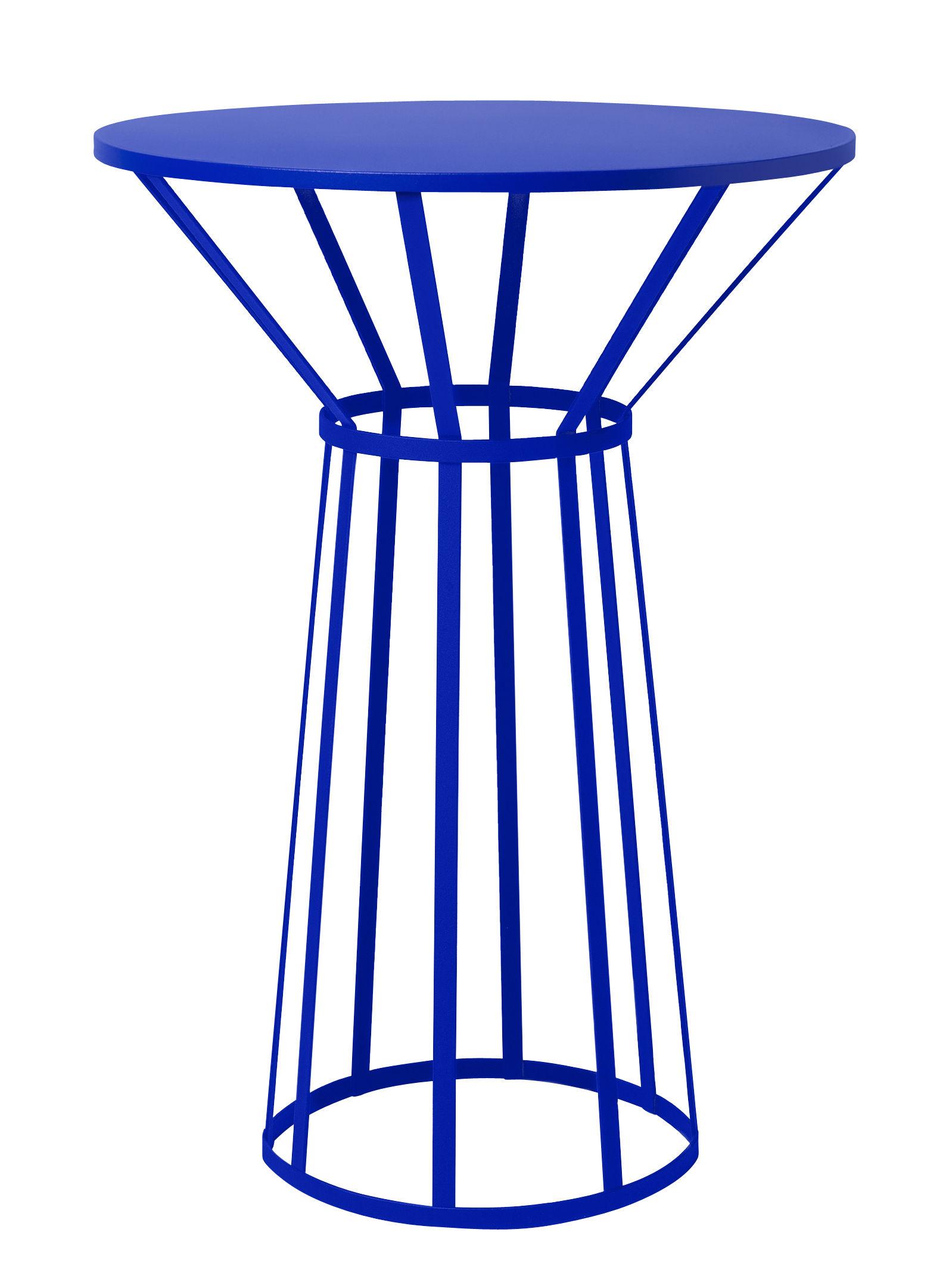 Arredamento - Tavolini  - Guéridon Hollo / Ø 50 x H 73 cm - Petite Friture - Blu - Acciaio laccato