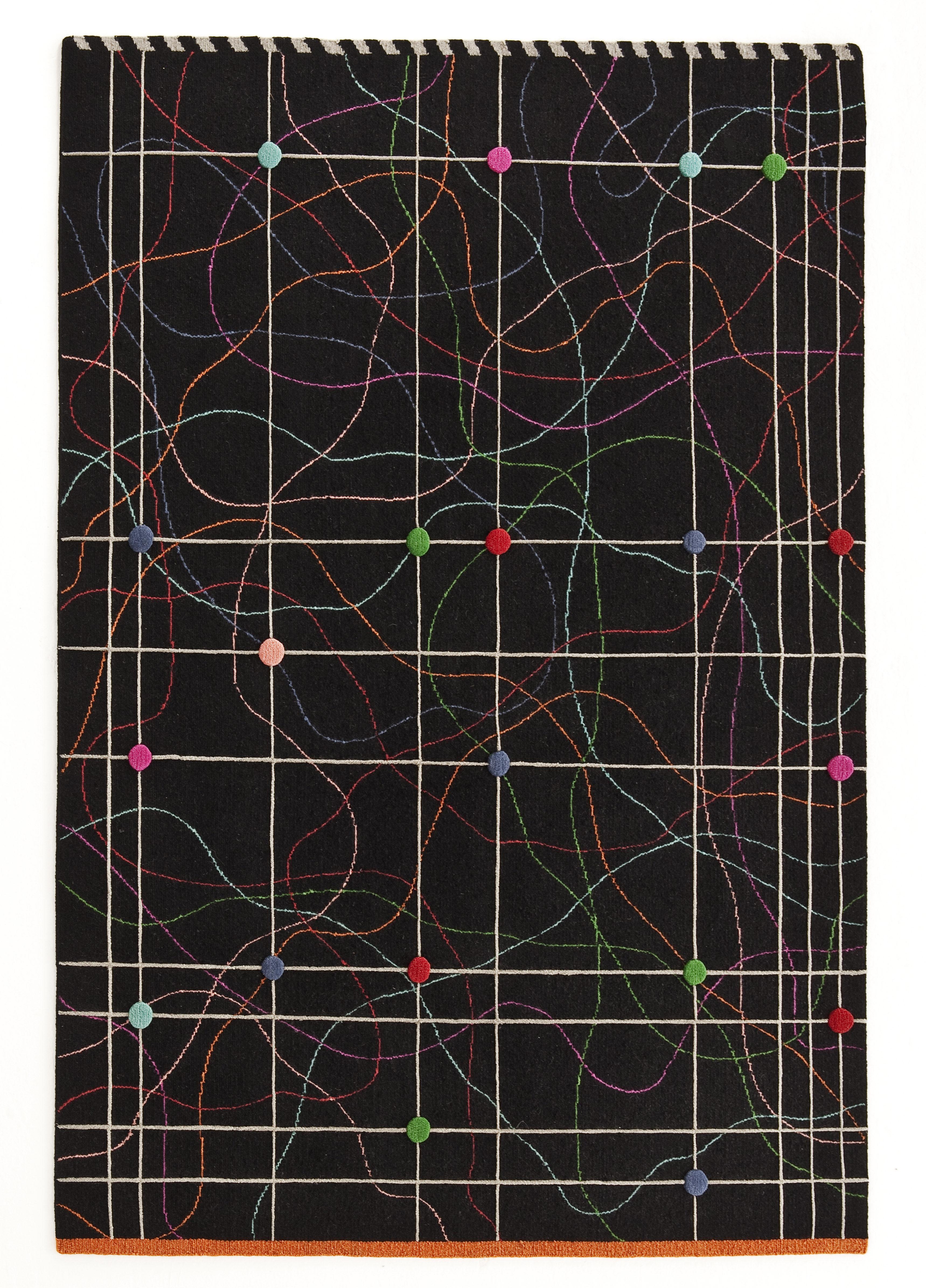 Dekoration - Teppiche - Rabari 3 Teppich / handgeknüpft - 170 x 240 cm - Nanimarquina - Mehrfarbige abstrakte Motive auf schwarzem Hintergrund - Laine vierge