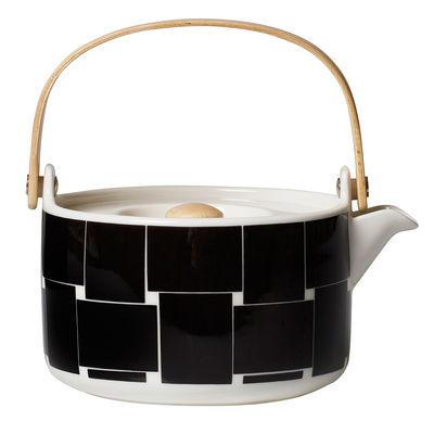 Théière Basket / 70 cl - Poignée bois - Marimekko blanc,noir en céramique