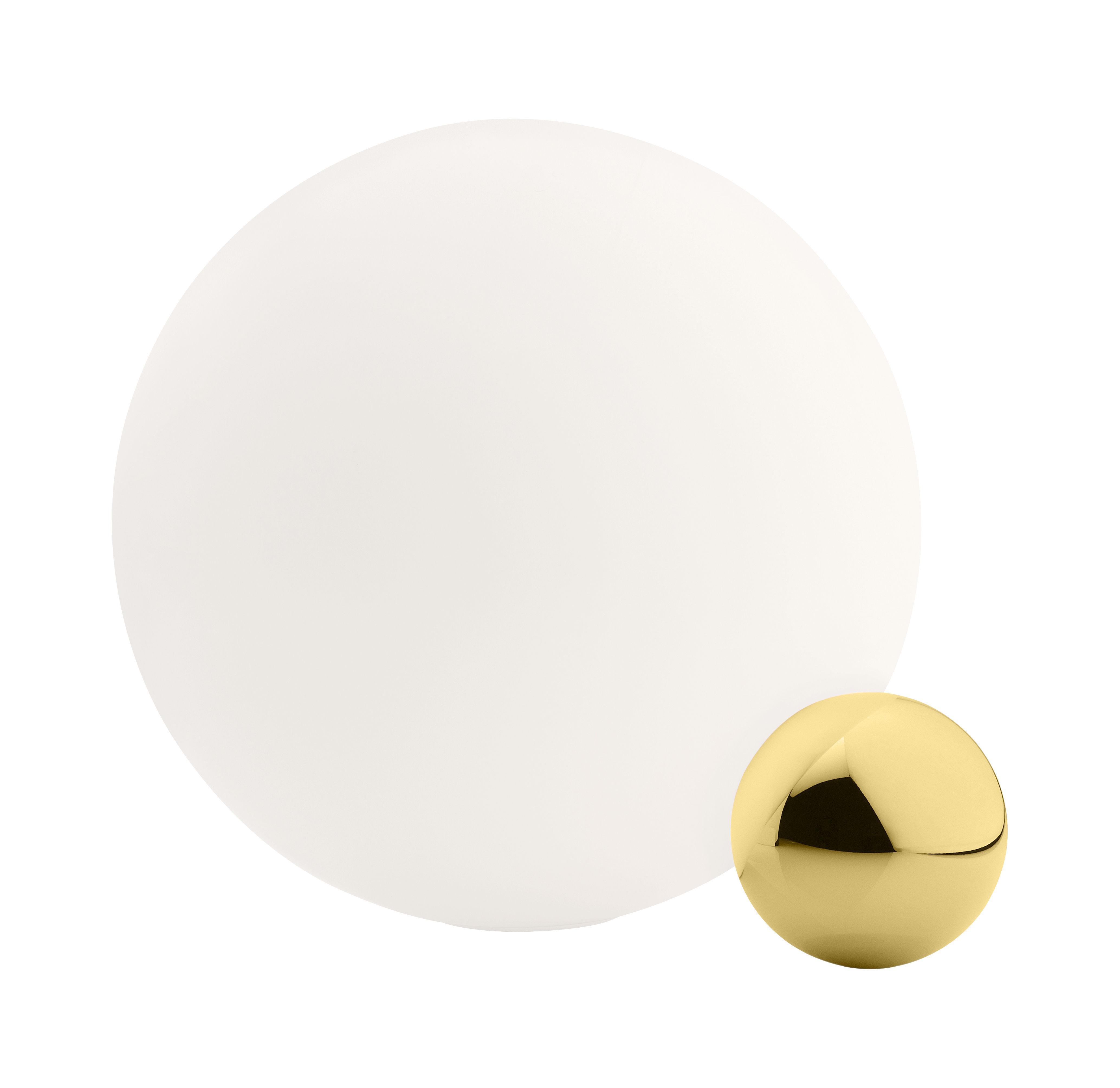 Leuchten - Tischleuchten - Copycat LED Tischleuchte / Ø 30 cm - vergoldet, 24 Karat - Flos - Vergoldet, 24 Karat / weiß - Aluminium, goldplattiert, geblasenes Glas