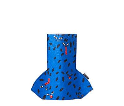 Decoration - Vases - Flower Power Small Vase cover - / H 28 cm - Felt by Sancal - Wild Dots / Blue - Felt