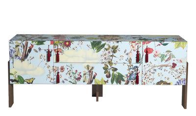 Möbel - Kommode und Anrichte - Ziqqurat Anrichte / L 246 cm x H 95 cm - Driade - Blumenmotive auf blauem Grund - HPL, MDF plaqué noyer