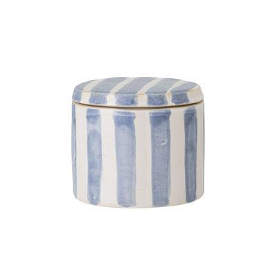 Déco - Boîtes déco - Boîte Cathe Small / Ø 11 x H 9,5 cm - Céramique peinte main - Bloomingville - Ø 11 x H 9,5 cm / Bleu - Céramique