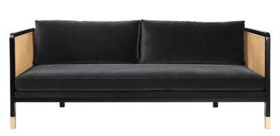 Canapé droit Cannage / L 210 cm - Velours - RED Edition noir,naturel,laiton,gris chic en tissu