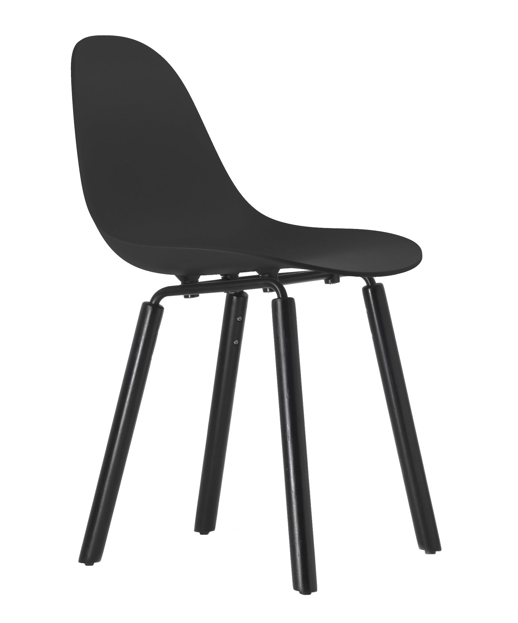 Furniture - Chairs - TA Chair - Wood legs by Toou - Black / Black legs - Lacquered metal, Painted oak, Polypropylene