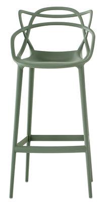 Chaise de bar Masters / H 75 cm - Polypropylène - Kartell vert sauge en matière plastique
