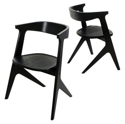 Mobilier - Chaises, fauteuils de salle à manger - Chaise empilable Slab / Bois - Tom Dixon - Noir - Chêne peint