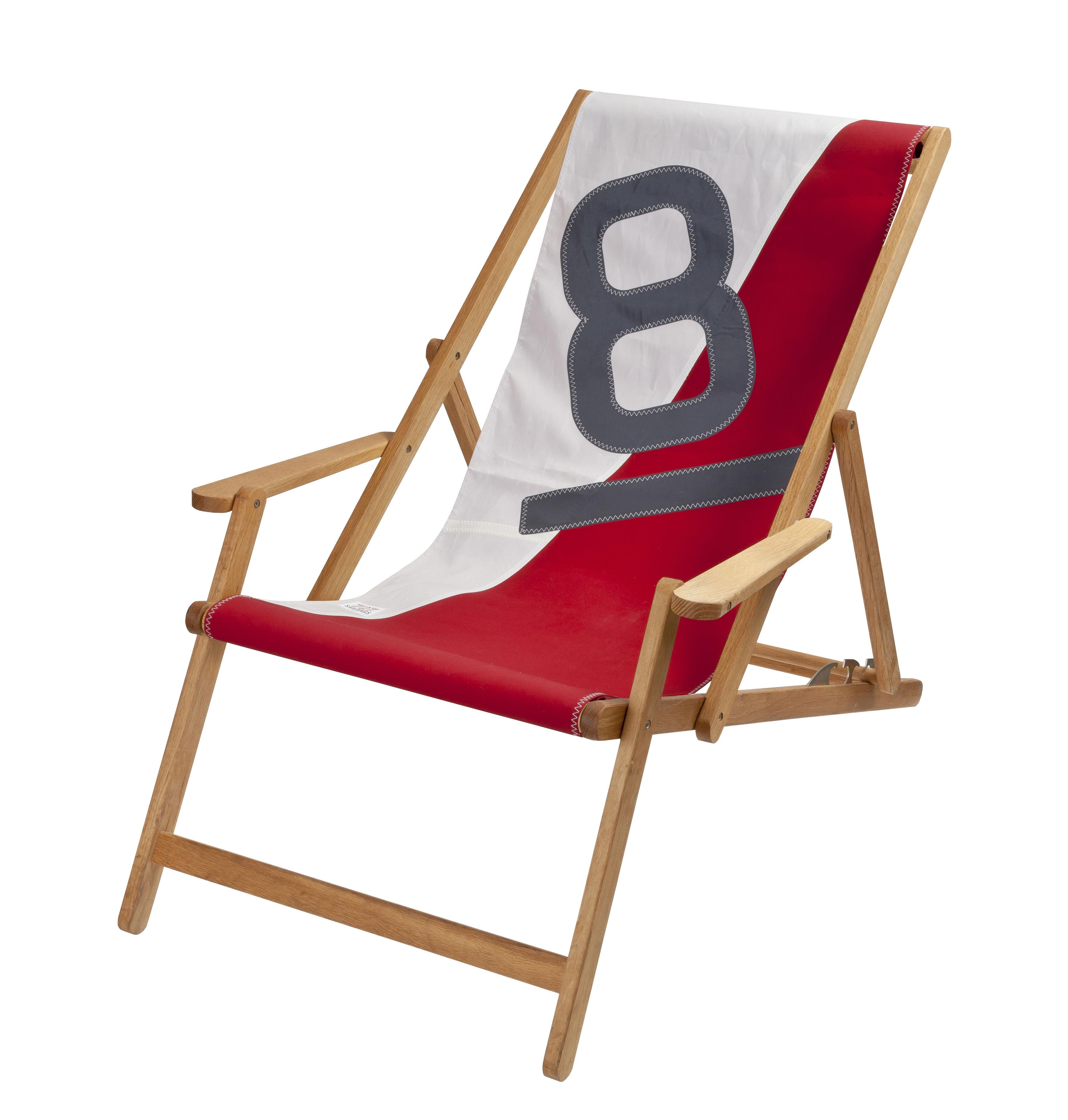 Outdoor - Chaises longues et hamacs - Chaise longue Transat / 3 positions - Voile bateau recyclée - 727 Sailbags  - Blanc & rouge / Chiffre gris - Chêne massif traité, Voile Dacron®