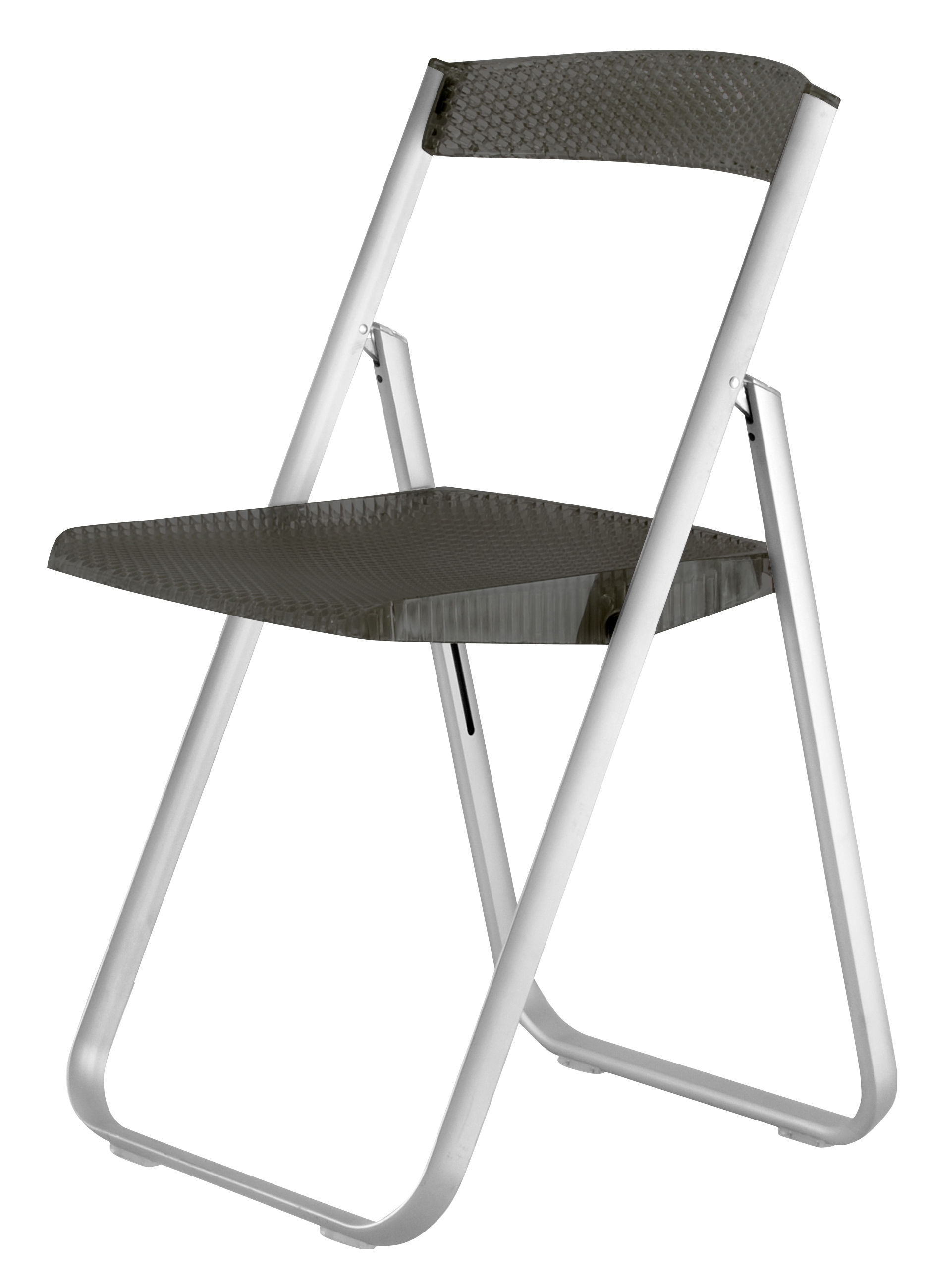 Mobilier - Chaises, fauteuils de salle à manger - Chaise pliante Honeycomb / Polycarbonate & structure métal - Kartell - Fumé - Aluminium anodisé, Polycarbonate