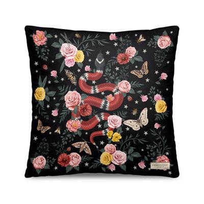 Decoration - Cushions & Poufs - Serpent Cushion - / Velvet - 45 x 45 cm by PÔDEVACHE - Black - Polyester, Velvet