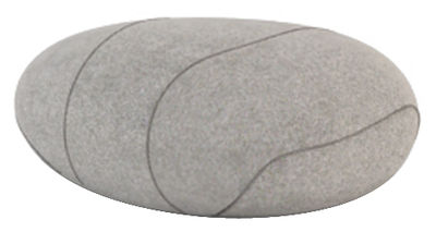 Furniture - Teen furniture - Xavier Livingstones Cushion - Woollen version - Indoor use by Smarin - Light grey with edging - Polysilicon fibres, Wool