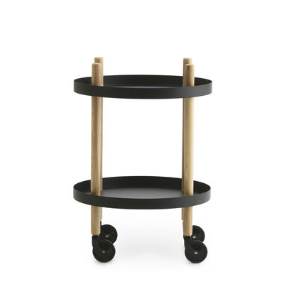 Desserte Block / Ø 45 cm - Normann Copenhagen noir/bois naturel en métal/bois