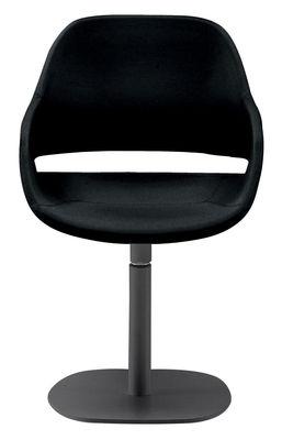 Mobilier - Chaises, fauteuils de salle à manger - Fauteuil pivotant Eva / Coque polyuréthane & pied métal - Zanotta - Pied noir / Coque noire - Acier verni, Polyuréthane