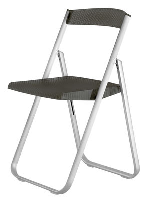 Furniture - Chairs - Honeycomb Folding chair - Polycarbonate & metal structure by Kartell - Smoke - Anodized aluminium, Polycarbonate