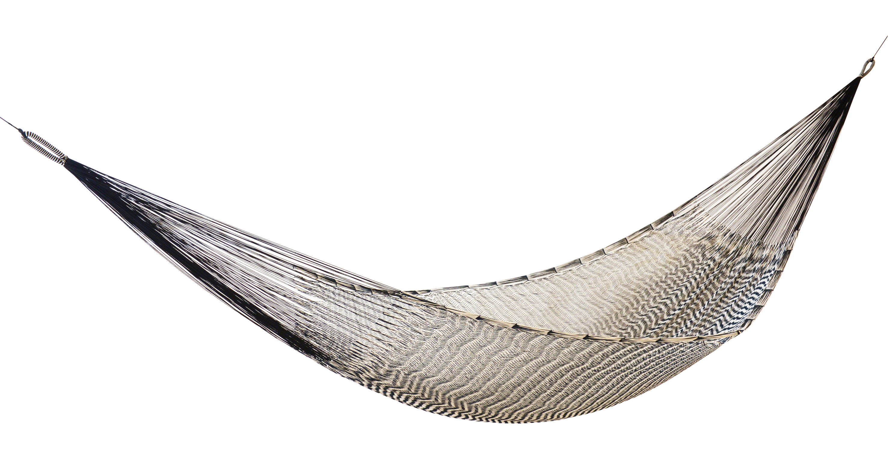 Outdoor - Sun Loungers & Hammocks - Ama Hammock - Hand made in Mexico by OK Design pour Sentou Edition - Black & White - Cotton, Nylon