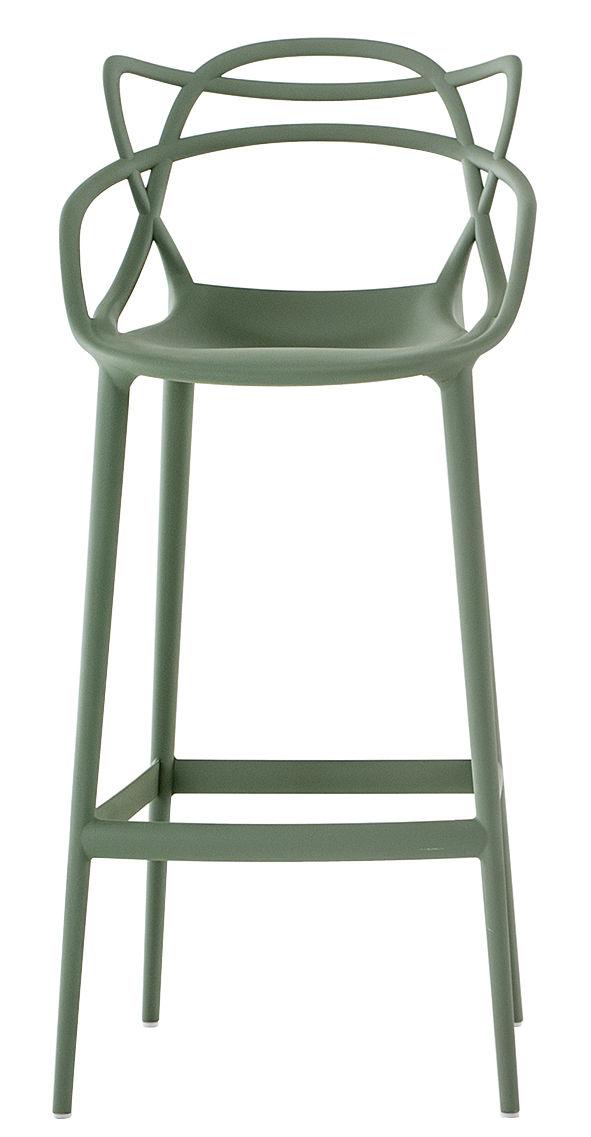 Möbel - Barhocker - Masters Hochstuhl / H 75 cm - Kartell - Salbei-grün - Polypropylen