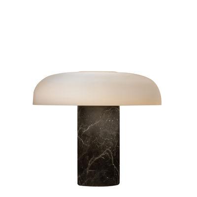 Illuminazione - Lampade da tavolo - Lampada da tavolo Tropico Media - / LED - H 32 cm / Vetro & marmo di Fontana Arte - Marbre noir - Marmo, Metallo galvanizzato, vetro soffiato