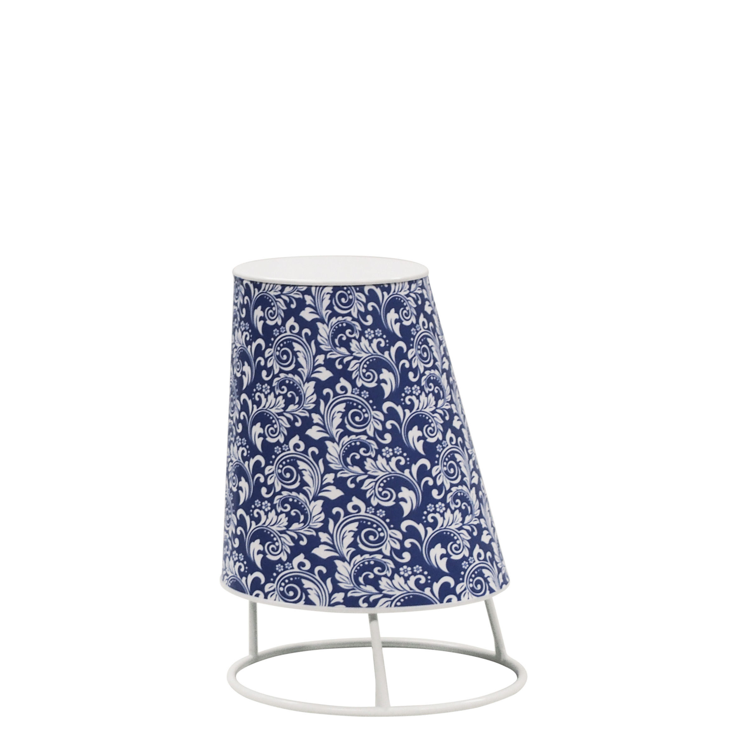 Luminaire - Lampes de table - Lampe sans fil Cone LED Small / H 22 cm - Emu - Fleurs bleues - Matière plastique, Polycarbonate, Tissu synthétique