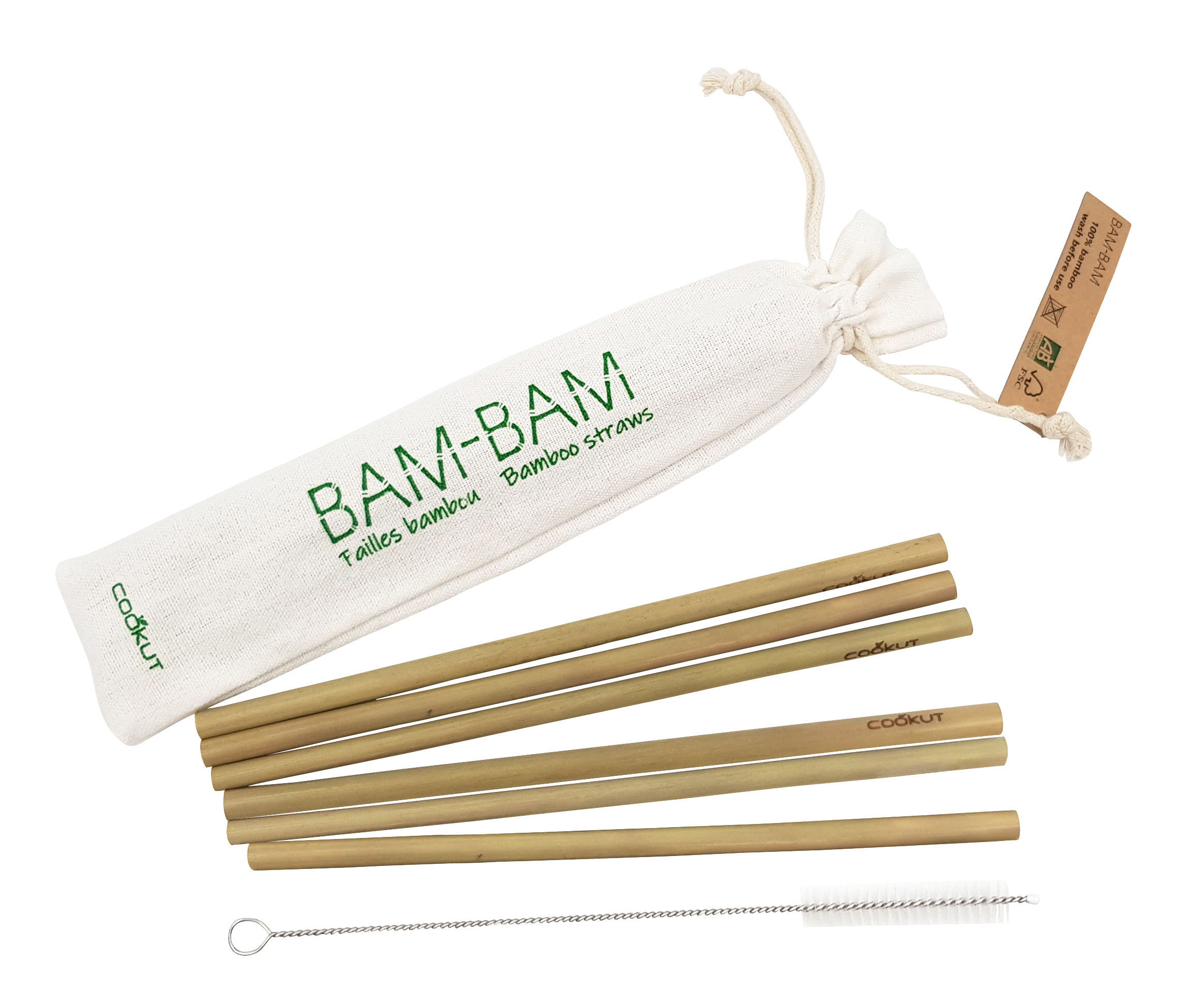 Arts de la table - Accessoires - Paille réutilisable Bam Bam / Set 6 pailles bambou + 1 écouvillon - Cookut - Bambou - Bambou bio